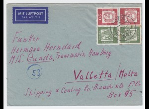 BRD 1963, 20+20+10+10 Pf. auf Luftpost Brief v. Hof n. Malta. Destination! #1807