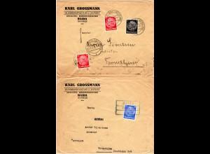 DR 1939, 2 Briefe m. versch. HAIDA Sudeten Stempeln n. Norwegen