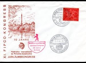 1960, Philatelie Sonderstempel FIPCO-KONGRESS BERLIN, Eröffnungs Sonderumschlag