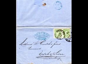Belgien 1875, Paar 10 C. auf Brief n. Luxemburg m. UPU-1.Tags-Ankunftstpl.!