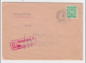 """1947, Roter Einschreiben Stpl. """"Bamberg 3"""" auf Reko Brief m. 84 Pf. #2731"""