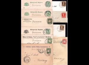 Bayern, kl. Firmenkorrespondenz v. 10 Briefen u. Karten n. Vilsbiburg.