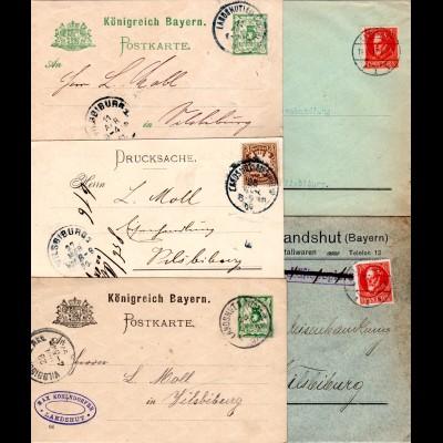 Bayern, Korrespondenz v. 5 Firmen Briefen u. Karten v. Landshut n. Vilsbiburg.
