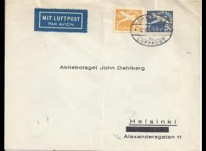 Danzig 1938, 15+50 Pf auf Luftpost Brief n Finnland. Seltener Bedarfsbrief #2509