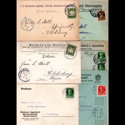 Bayern, Korrespondenz v. 6 Firmen Briefen u. Karten v. München n. Vilsbiburg.