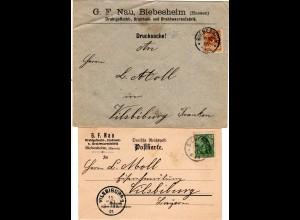 DR, Firmen-Brief u. -Karte G.F. Nau v. BIEBISHEIM Hessen n. Vilsbiburg.