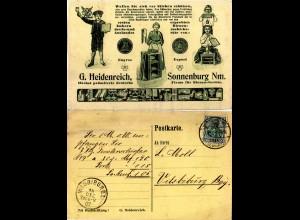 DR 1907, 5 Pf. auf attraktiver Karte Bienen Geräte ab SONNENBURG Nm. n. Bayern.