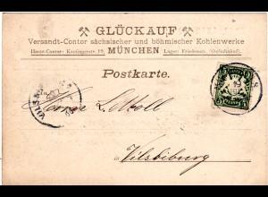 Bayern 1900, 5 Pf. auf Kohlen Werke Glückauf-Karte v. München 8