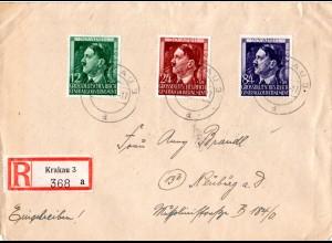 Generalgouvernement 1944, Geburtstagsausgabe kpl. auf Reko Brief m. Ankunftstpl.