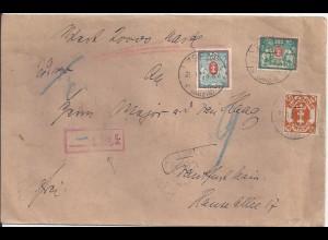 """Danzig 1923, Wert Brief """"20000 MK"""" m 3 Marken n. Frankfurt. Kl. roter R1! #1777"""