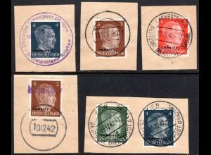 Ukraine, 5 Briefstücke m. verschiedenen u. teils aptierten Stempeln