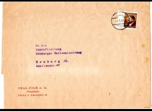 Böhmen u. Mähren 1943, EF 30 H. auf Streifband der PRAG-FILM A.-G. n. Neuburg.