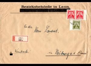 Böhmen u. Mähren 1943, 3+Paar 1,20 K. Dienst auf Einschreiben Brief v. LAUN