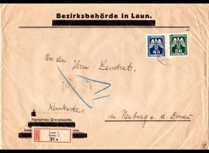 Böhmen u. Mähren 1943, 5 K.+40 H. Dienst auf Einschreiben Brief v. LAUN
