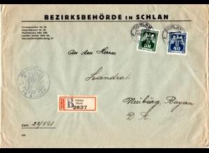Böhmen u. Mähren 1943, 5 K.+40 H. Dienst auf Einschreiben Brief v. SCHLAN