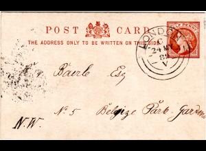 GB 1889, early double circle LONDON klar auf 1d Ganzsache