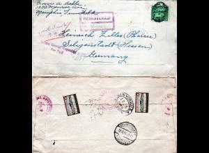 USA 1930, 2 Weihnachten Vignetten rs. auf Reko-AR Brief m. 25 C. v. Memphis