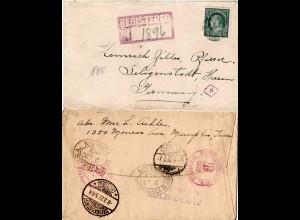 DR 1922, Bahnpost-L3 BPA 10 Köln-Deutz rs. auf Reko Brief m. USA 15 C.