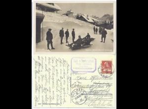 Engelberg 1930, Bob Bahn, nach Schweden gebr. sw Foto AK m. Bob u. Personen #472