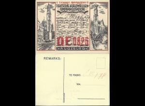 Augsburg 1929, AK Dt. Kurzwellen Empfangstation m. Radio Eintragungen. #317