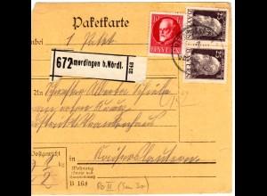 Bayern 1915, 10+Paar 25 Pf. auf Paketkarte v. AMERDINGEN b. Nördlingen