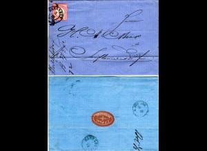 DR 1872, 1 Gr auf Brief m. Sachsen-K2 HERRNHUT via Österreich n. Seifhennersdorf