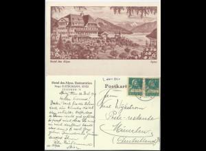 Spiez 1929, Restaurant Hotel Des Alpes, gebr. sw AK. #628