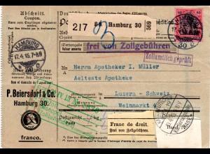 DR, EF 80 Pf. Germania m. WZ u. perfins auf Paketkarte v. Hamburg i.d. Schweiz.