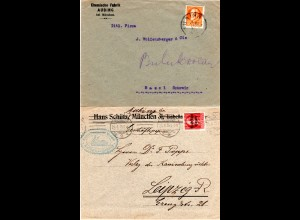 Bayern, 2 Firmen Briefe v. Aubing, 1mal m. EF 30 Pf. i.d. Schweiz