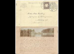 Bayern 1900, Memmingen, Ganzsache m. rs. aufgeklebtem Foto See m. Häusern. #232