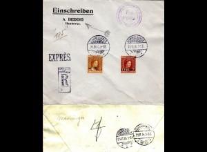 Luxemburg 1916, 17 1/2/30 C.+87 1/2 C./1 Fr. auf Reko Express Brief n. Hannover