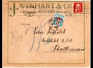 Bayern 1912, 10 Pf. auf Firmen Brief v. München m. Schweiz Portomarke