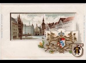 München, Marienplatz u. Wappen, ungebr. Präge-Farb-Litho-AK