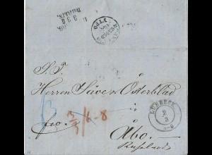 Lübeck 1854, Franko Brief m. K2 u. rs. Bahnpost nach Finnland! #2606