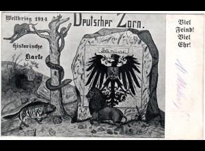 WK I, DEUTSCHER ZORN, Viel Feind Viel Ehr!, 1915 gebr. sw-AK