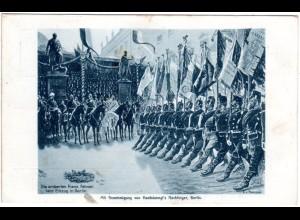 Einzug in Berlin, eroberte französische Fahnen, 1911 gebr. Rotes Kreuz sw-AK