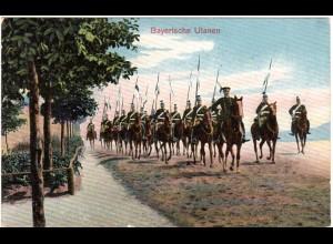 Bayern, Bayerische Ulanen, 1912 gebr. Militär Farb-AK