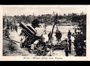 WK I, 21 cm-Mörser Kanone u. Soldaten, 1916 gebr. sw-AK