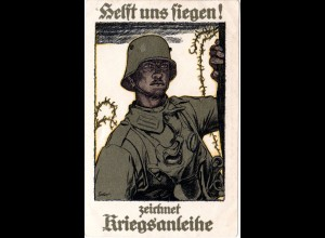 WK I-Propaganda Zeichnet Kriegsanleihe, Soldat m. Gasmaske, ungebr. Farb-AK