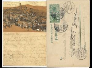 DR 1896, 5 Pf. Ganzsache m. rs. aufgeklebter LITHO Ansicht Königstein. #459