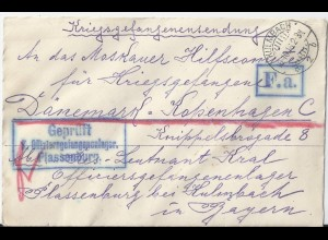 Bayern 1916, KGF POW Zensur Brief v Lager Kulmbach Plassenburg n Dänemark. #2641