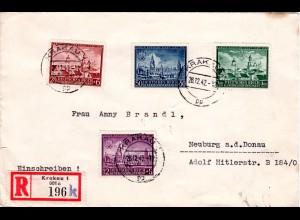 Generalgouvernement 1942, Ausgabe Lublin kpl. auf Reko Brief v. KRAKAU