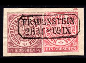 NDP, 1/4+1 Gr. auf Briefstück m. nachverwendetem Sachsen-R2 FRAUENSTEIN