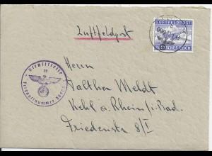 FP WK II 1943, Org. Todt Luftpost Brief m.FP Nr. 38903 u. Zulassungsmarke. #2668