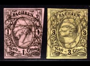 Sachsen, 1+3 NGr. m. zentrischem Nr.-Stpl. 61 HARTHAU b. CHEMNITZ