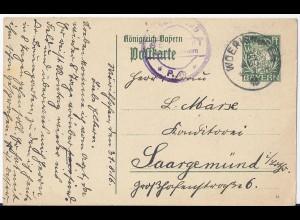 Bayern 1916, Woerishofen, WW I Ganzsache Karte mit Zensur n. Saargemünd. #2647