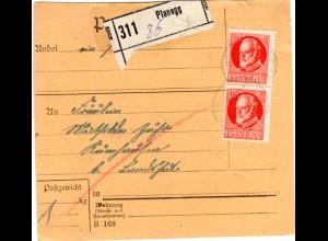 Bayern 1918, MeF Paar 15 Pf. auf Paketkarte v. PLANEGG n. Kumhausen b. Landshut