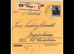 Bayern 1920, EF 75 Pf. Germania Freistaat auf Paketkarte v. KITZINGEN 2