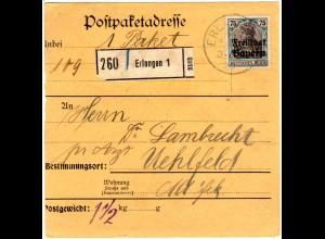 Bayern 1920, EF 75 Pf. Germania Freistaat auf Paketkarte v. ERLANGEN