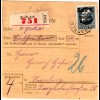 Bayern 1920, EF 2,50/1 Mk. auf Einschreiben Paketkarte v. PRACKENBACH